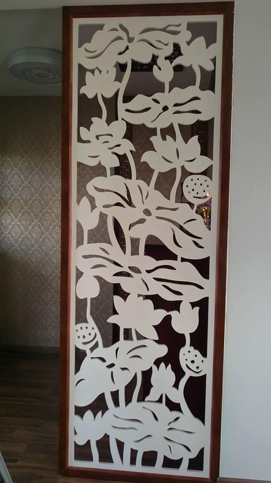 vách hoa sen trang trí bàn thờ